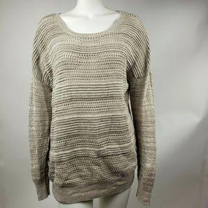 ANN TAYLOR LOFT Tan Open Knit Top XL